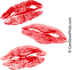 The imprint of a red lips. Realistic illustration