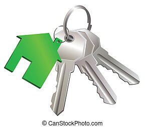 Keys with label of house - The three metal keys and house...
