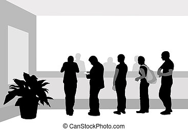 People stand in a row near cash desk