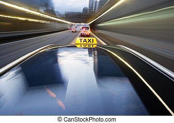 Speeding taxi - Taxi being pulled over by a police car for...