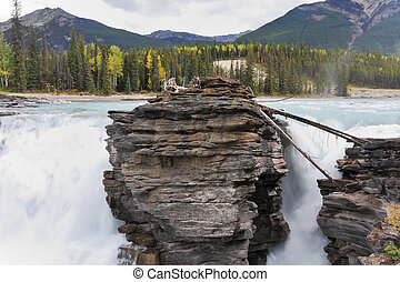 Howling Athabasca Falls in the Rocky Mountains of Canada....