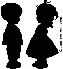 Silhouettes of children - The two silhouette of a boy and...