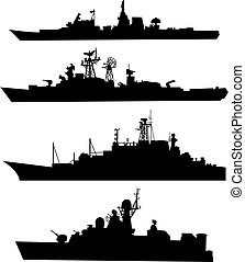 ship silhouettes - The black silhouettes of a ship Set