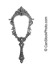 Vintage hand-held mirror isolated on white
