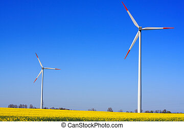 Wind power on blue sky