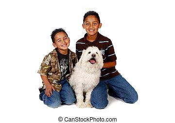 hispano, hermanos, con, su, perro, blanco
