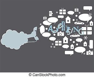 Phone marketing - Creative marketing by telephone The hand...