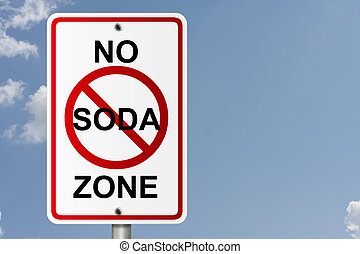 No Soda Zone - An American road sign with sky background and...