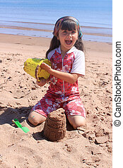 Little girl at the beach in P.E.I