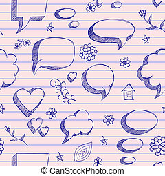 The speech bubbles seamless on pink sheet of a notebook