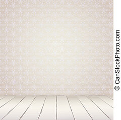 White Interior of vintage room from gray grunge wallpaper...