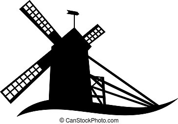 windmill silhouette - The silhouette of windmill