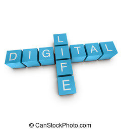 Digital life 3D crossword on white background
