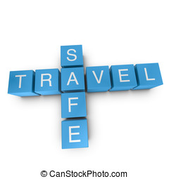 Travel safe 3D crossword on white background