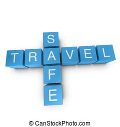 Travel safe 3D crossword on white background