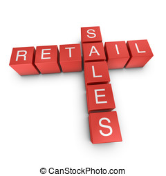 Retail and sales 3D crossword on white background - Retail...