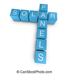 Solar panels 3D crossword on white background