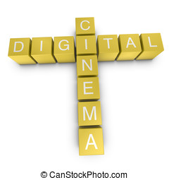 Digital cinema 3D crossword on white background