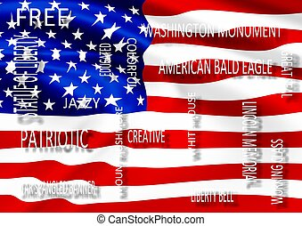 describe USA and flag - American flag and a group of words...