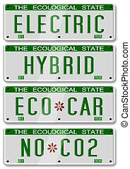 electric hybrid car plates - four different electric and...