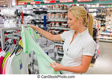 woman on the purchase of clothing