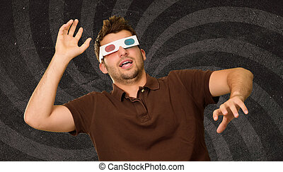 Man Watching Television In 3d Glasses On Wallpaper