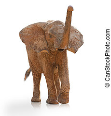 Portrait Of An Elephant Walking On White Background