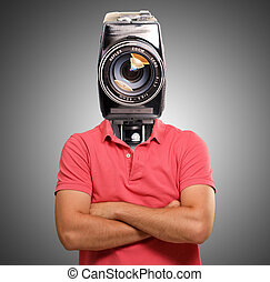 Man With Camera Head On Gray Background