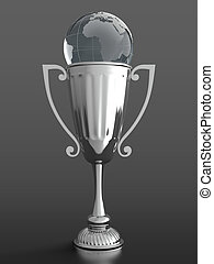 Trophy cup with glass globe - 3D render of silver trophy cup...