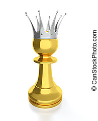 Pawn king - 3D render of golden pawn with silver crown...