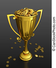 First prize - 3D render of trophy cup full of money on black...