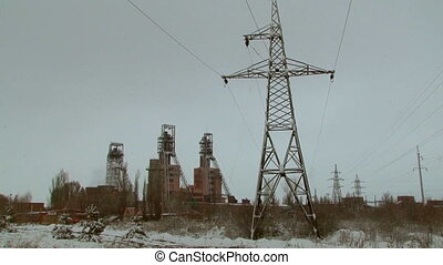 Powerlines of an industrial city - Close view of an...