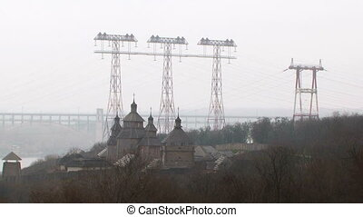 Russian industrial cityscape - View of a russian city with...