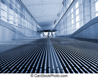 Moving Walkway - A moving walkway at a modern airport