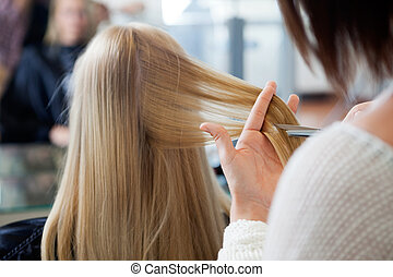 Woman Receiving Haircut - Close up of hairdresser giving a...