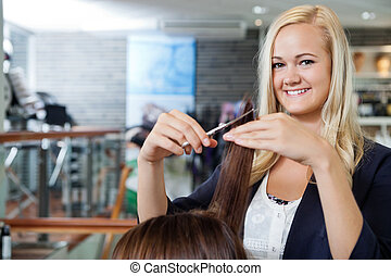 Beautician At Parlor - Portrait of happy young female...