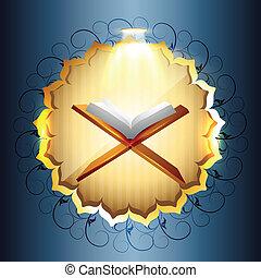 quraan book - religious book of quraan vector illustration
