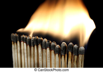 a row of burning matches