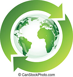 Recycle sign with green globe on white