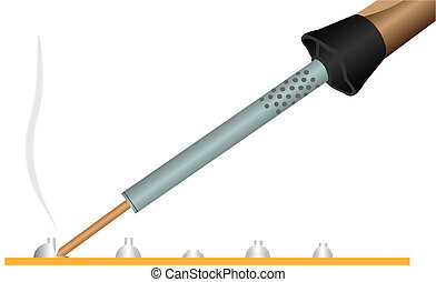 Electric soldering iron - Illustration of a soldering iron,...