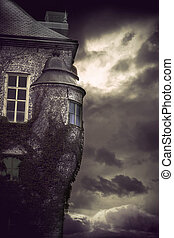 spooky castle - Detail of spooky castle on dark stormy night...