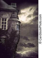 spooky castle - Detail of spooky castle on dark stormy night...