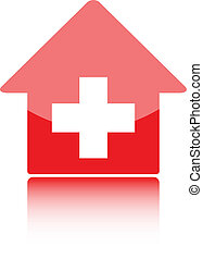 Medical icon with red hospital symbolor swiss home or swiss bank