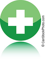 First aid medical sign on green background