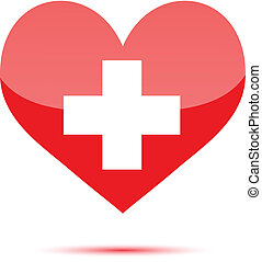 Red heart shape with medical cross on white