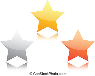Gold, silver and bronze star isolated on white