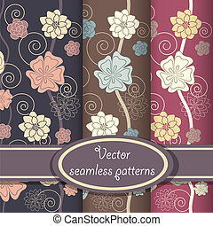 Vector set of elegant floral patterns - Seamless patterns...