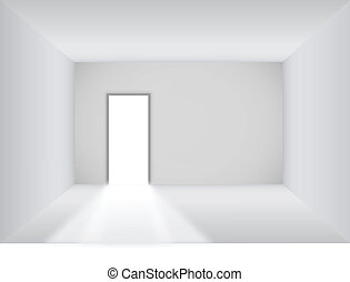 Blank room with open door background