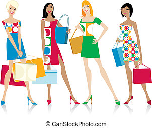Girls with shopping bags - Four girls with shopping bags,...