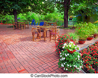 outdoor cafe - Photo of the situation in a summer cafe of...